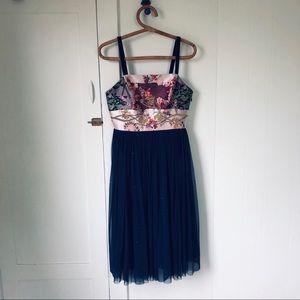 Anthropologie Tulle Skirted Floral Dress